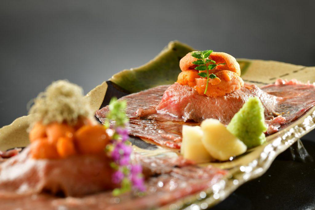 Wagyu and Uni Sushi